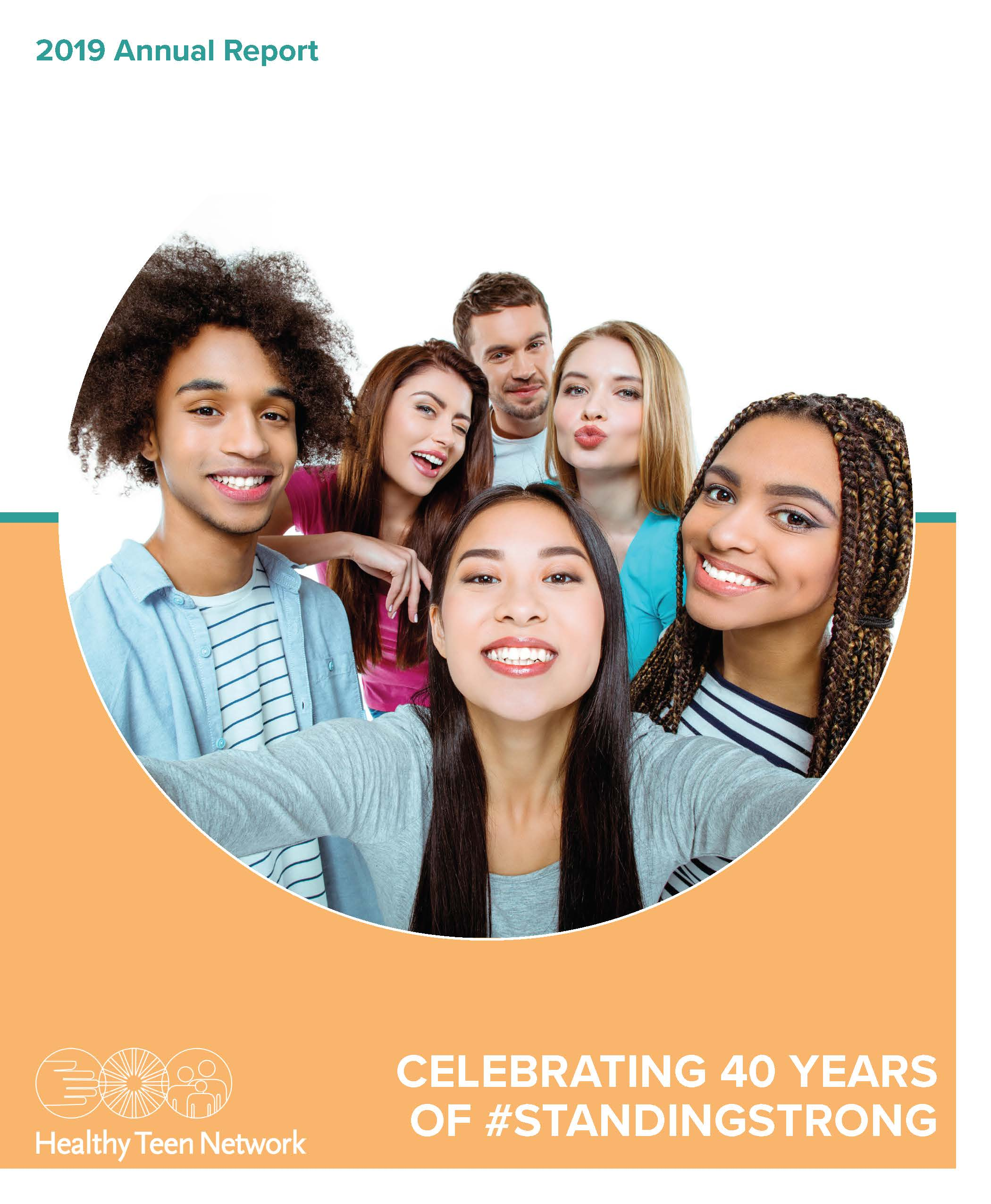 Cover image of 2019 annual report. Includes title and image of 6 adolescents, smiling for a group selfie.
