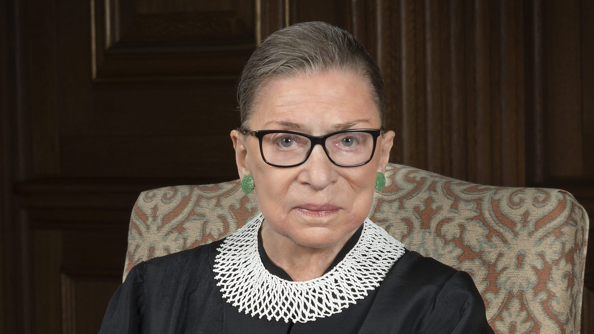 U.S. Supreme Court Justice Ruth Bader Ginsburg, seated in her robe, 2016 portrait