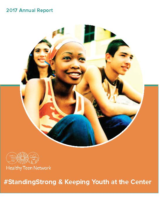 Cover image for 2017 annual report. Features 3 adolescents sitting, smiling.