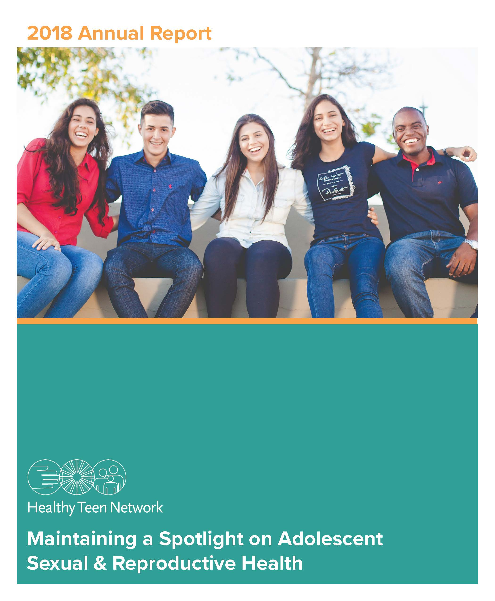 Image of cover of 2018 annual report. Includes title, with 5 young people sitting together, in a row, outside, smiling, with arms around each other's shoulders.
