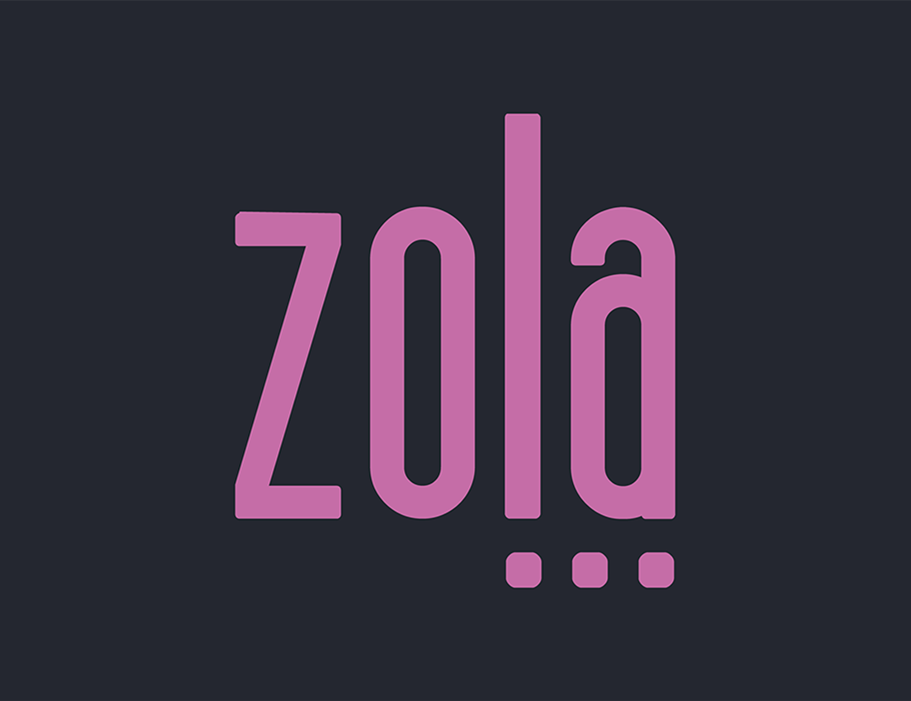 """Logo for Zola (word art, purple text on black background, with 3 dots under """"l"""" and """"a"""")"""