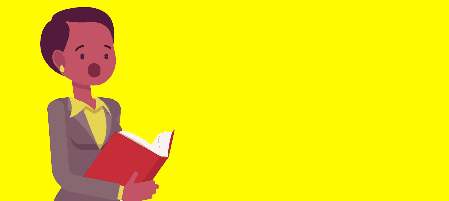 Image of a teacher talking, holding a book