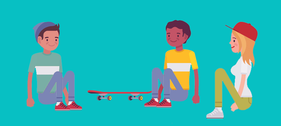 Image of 3 adolescents, sitting on the ground, near a skateboard