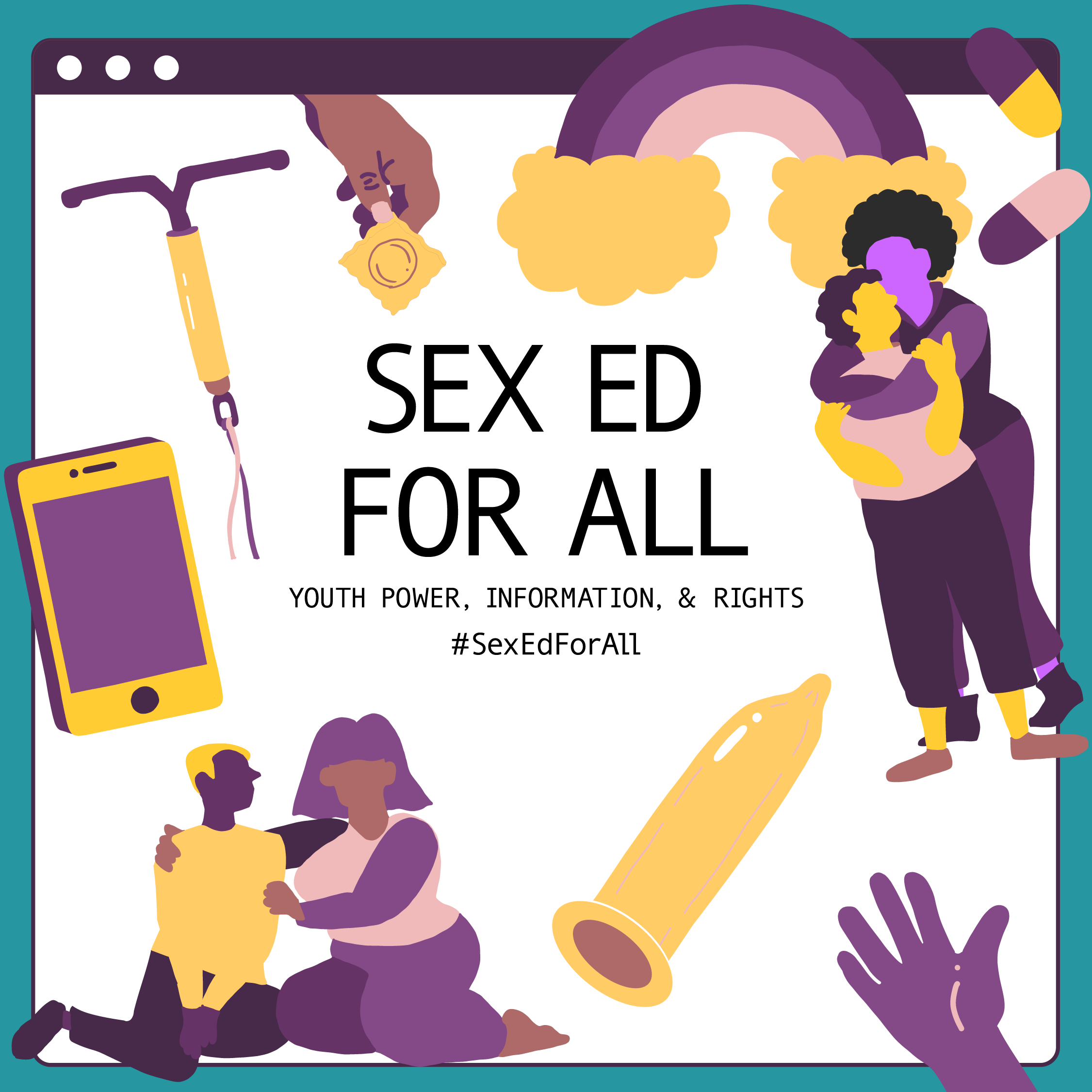 Images of IUD, condom, rainbow, couples, around title Sex Ed for All