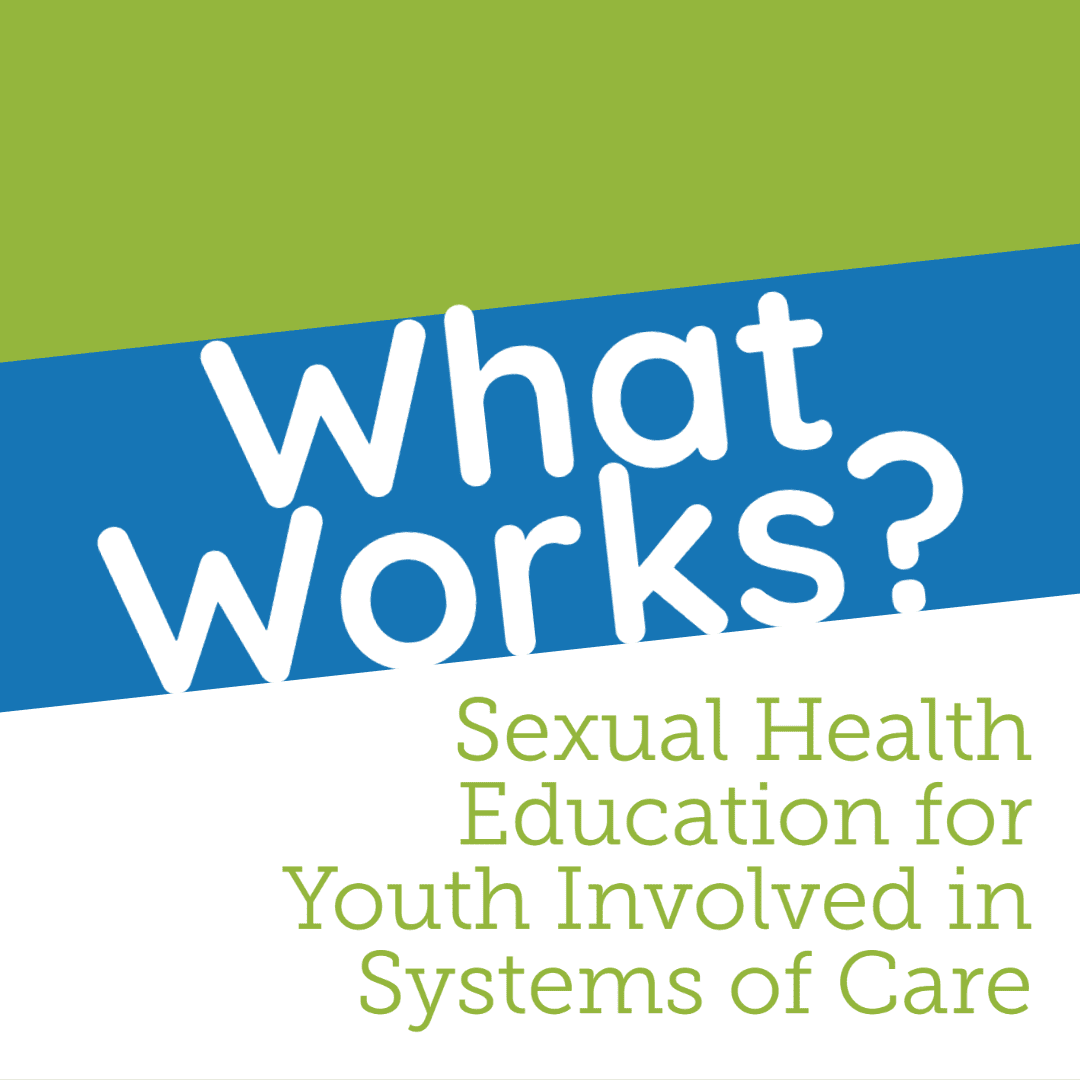 Image of word art for presentation title, What Works? Sexual Health Education for Youth Involved in Systems of Care