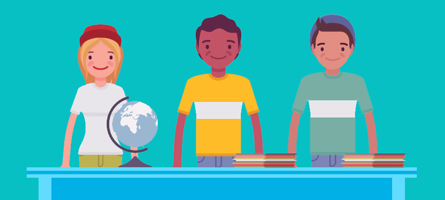 Image of 3 adolescents, standing behind a table with a globe and stacks of paper