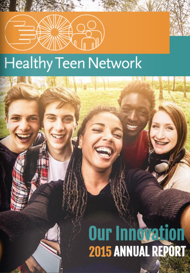 Cover image of 2016 annual report. Features 3 adolescents sitting and smiling.