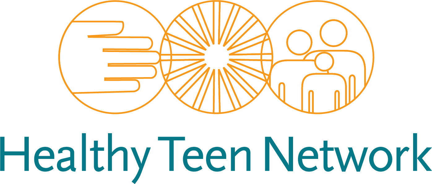 """Logo for Healthy Teen Network, featuring 3 interlocked orange circle outlines, and inside, outline drawings of a hand, a sunburst, and three people; below the circle, in teal, is the name, """"Healthy Teen Network"""""""