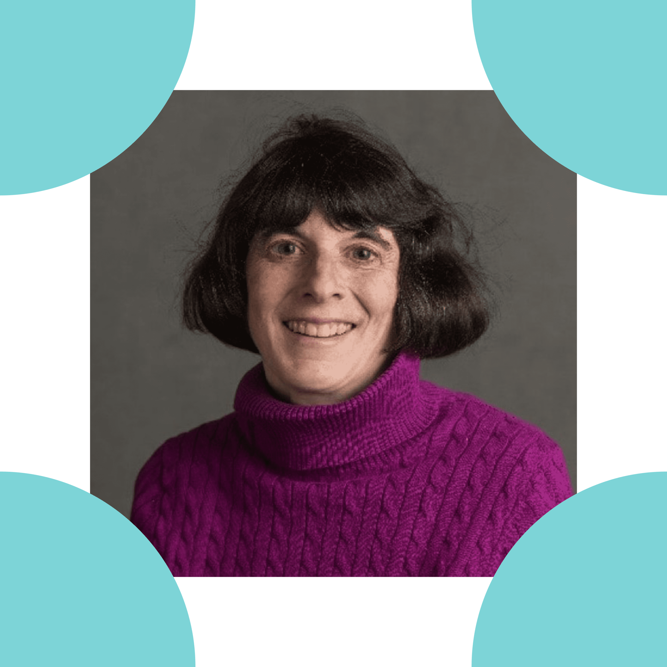 Image is a headshot of Amy Dworsky, set inside the four corners of the ReSHAPING logo.