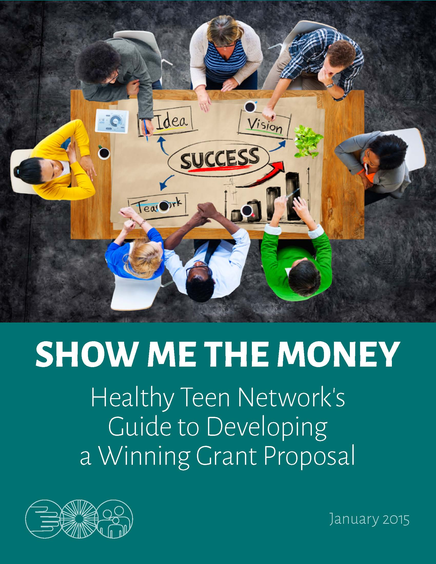 Show Me the Money cover, group of professionals sitting around a table with a graphic