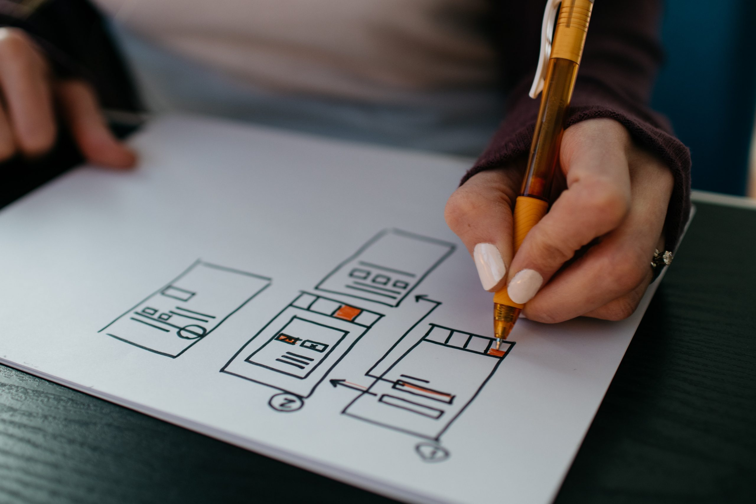 Person sketching a user interface