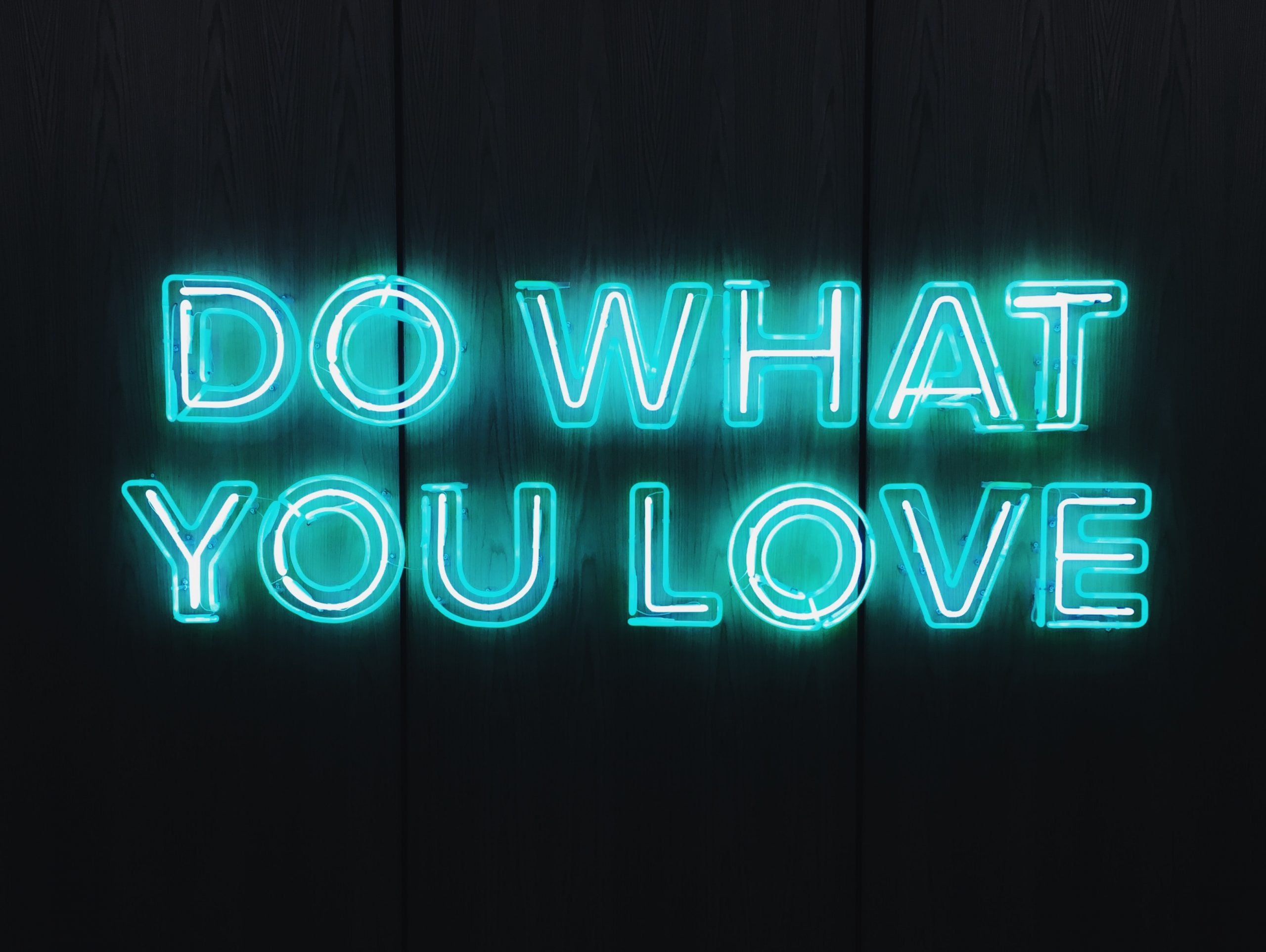 """Neon sign, stating """"do what you love"""""""